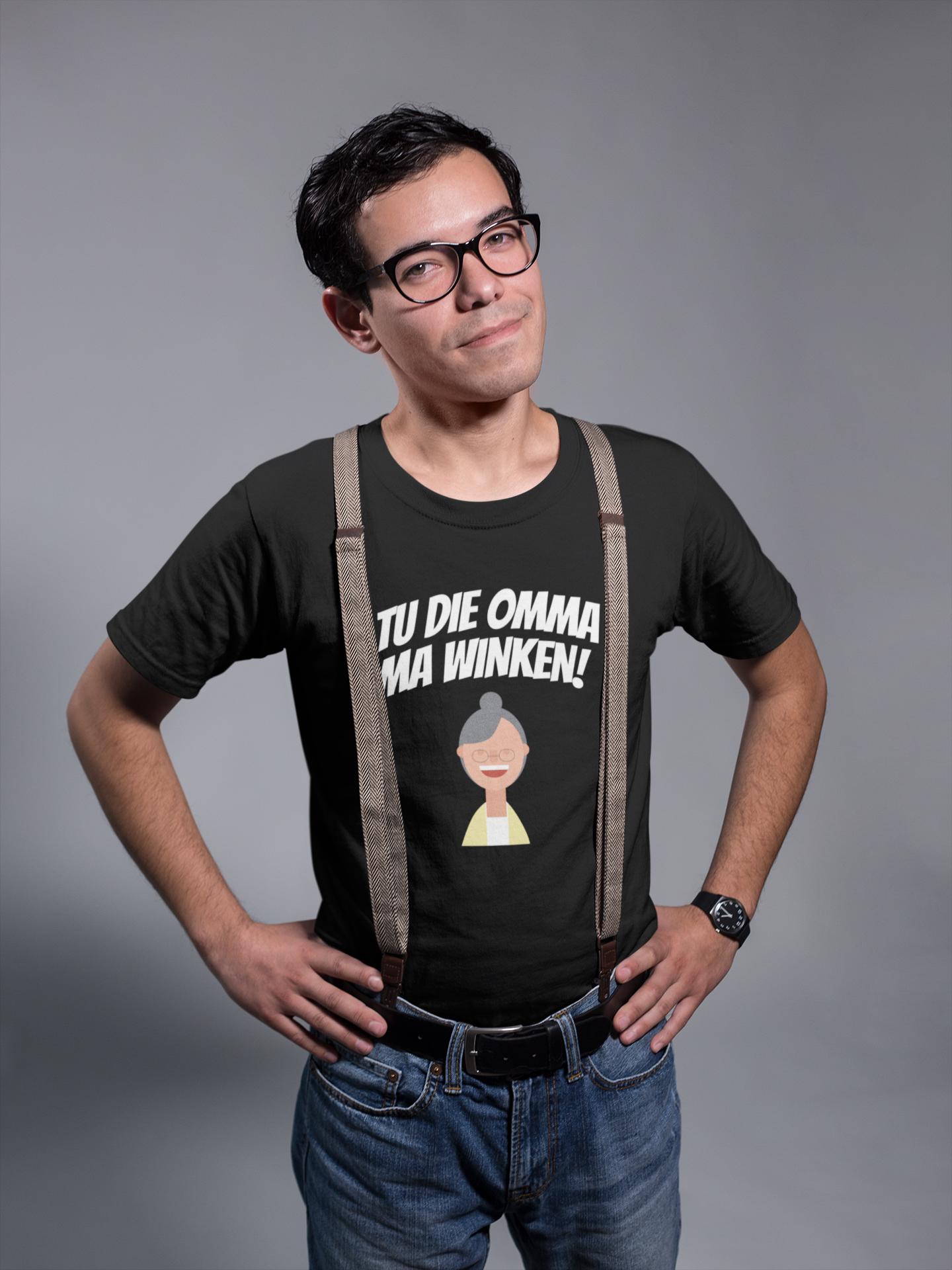 Tu Die Omma Ma Winken T Shirt Schwarz